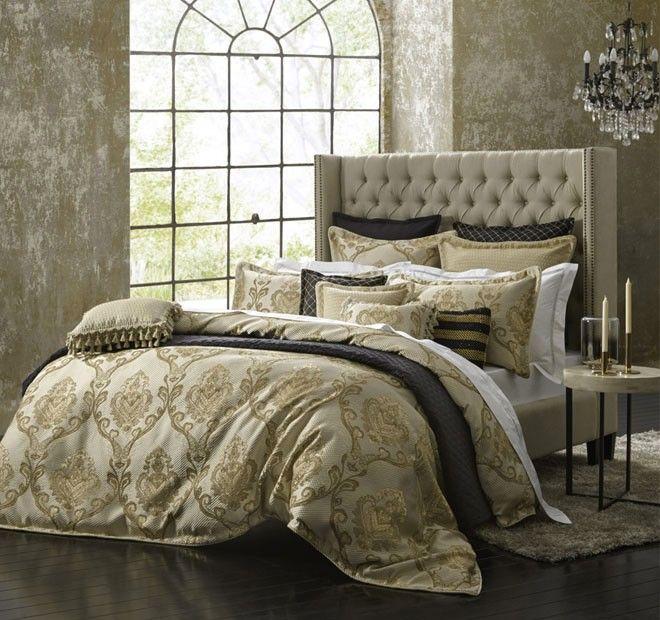 Castille Quilt Cover Set Range Gold   Manchester Warehouse