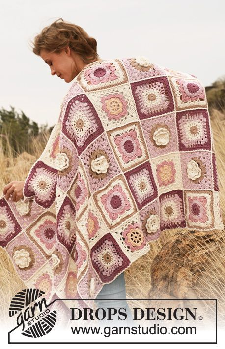"Gehäkelte DROPS Decke in ""Paris"". ~ DROPS Design"