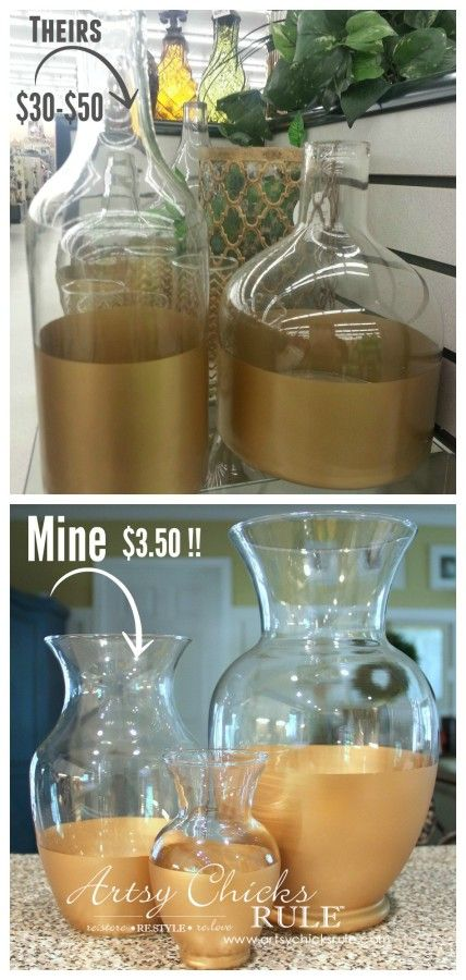 Easy DIY Gold Dipped Jars - Theirs and Mine - Thrift Store for 3.50 (compared to retail of 50) - #diy #golddipped artsychicksrule