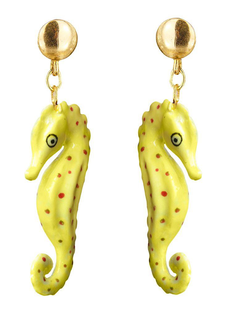 Yellow sea horse Earring
