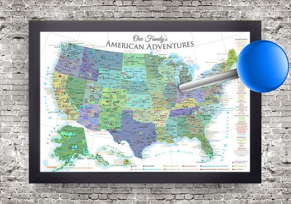 USA National Parks Map and Push Pin Travel Map Use as pin map or wall map  Use this map to plan, track, and explore the geography and rich history of the USA. Write on it, pin it, - get out and Explore America!  ✦ Beautifully framed and ready to hang ✦ Includes 100 map pins ✦ Everything completely Made in the USA! This unique map features all of the National Park Service (NPS) Parks, Historical Parks, Historical Sites/Parks, National Monuments, Battlefields, Lakeshores, Preserves, and ot...