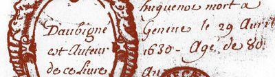 """frontispice des Tragiques- En aout 1576 Agrippa est en Gascogne avec le roi de Navarre où éclatent les 1° brouilles entre les 2 hommes. Il part en mission dans le N. En retournant il s'arrête aux Etats Généraux. En avril 1577 il est en mission auprès de Damville gouverneur du Languedoc. En mai éclate une nouvelle brouille avec Henri de Navarre. En juin gravement blessé à Casteljaloux, il voit la mort de près une 2° fois. De cette """"agonie"""" naitront les 1° fragments des Tragiques."""
