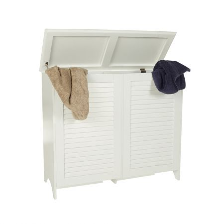 "White Wooden Laundry Hamper Double. Made from durable, solid wood, this hamper with its hinge attached lid provides the perfect ""sort as you go"" solution to your dirty laundry. Use one side for light clothing and the other for your darks and you're presorting is complete before you even decide to pop a load in the machine. Available from Howards Storage World."