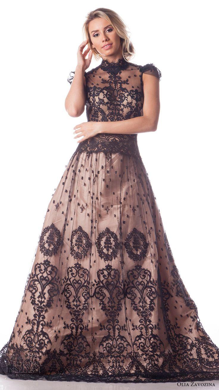 olia zavozina bridal spring 2017 cap sleeves high neck black lace 2 piece a line…
