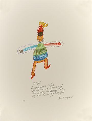 """ARILD NYQUIST OSLO 1937 - ASKER 2004  """"Til jul"""" Fargelitografi, H.C. 65x50 cm (arkmål) Signert nede til høyre: Arild Nyquist"""
