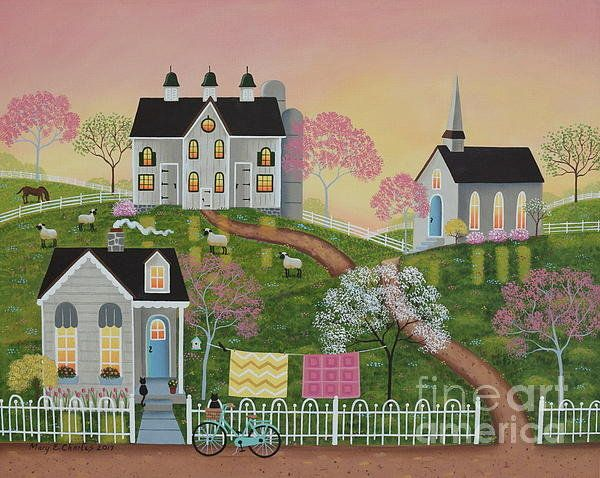 Morning Ride Folk Art Painting by Mary Charles