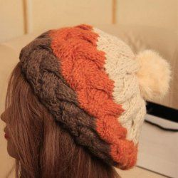 $8.67 Fashion Fluffy Ball Embellished Patchwork Beanie Hat For Women