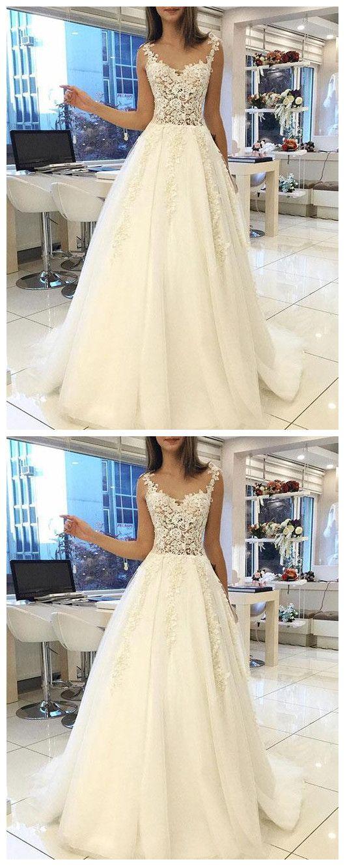 White lace tulle long prom dress, wedding dress P1222 #promdress #promdresses #promgown #promgowns #long #laceprom #modestpromdress #newpromdress #2018fashions #newstyles #whiteprom #prom