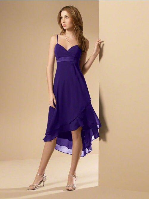 A-Line/Princess Spaghetti Straps Sleeveless Asymmetrical Chiffon Bridesmaid Dresses