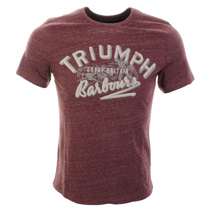 Barbour International X Triumph Injector Single Tee T Shirt In Merlot Red Marl, Part of the exclusive collaboration with Triumph. A ribbed crew neckline and short sleeves. A large Barbour International and Triumph logo is printed on the chest in grey and beige. 100% Cotton. Brand New Collection Of Barbour T Shirts And Polo Shirts Live Online UK.
