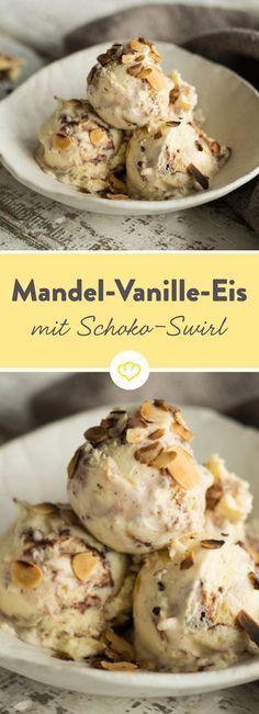 Die Kombination Mandel und Vanille ist ein Gedicht. Erst recht, wenn sie in einem cremigen Eis auf einen süßen Schokoladenswirl trifft.