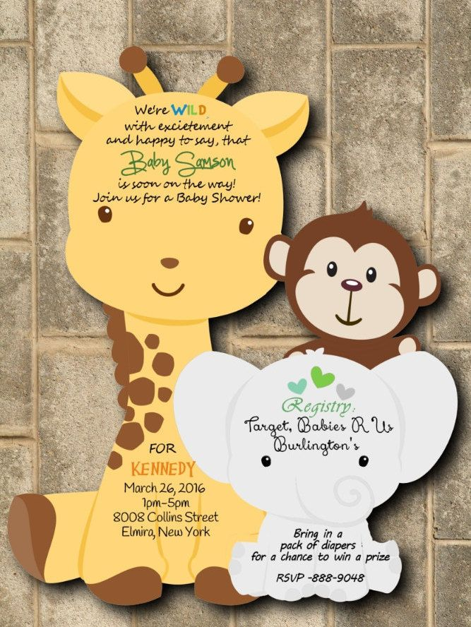 40 Safari Baby Shower Invitations, Jungle Baby Shower Invitations, Monkey Invitation by newyorkinvitations on Etsy