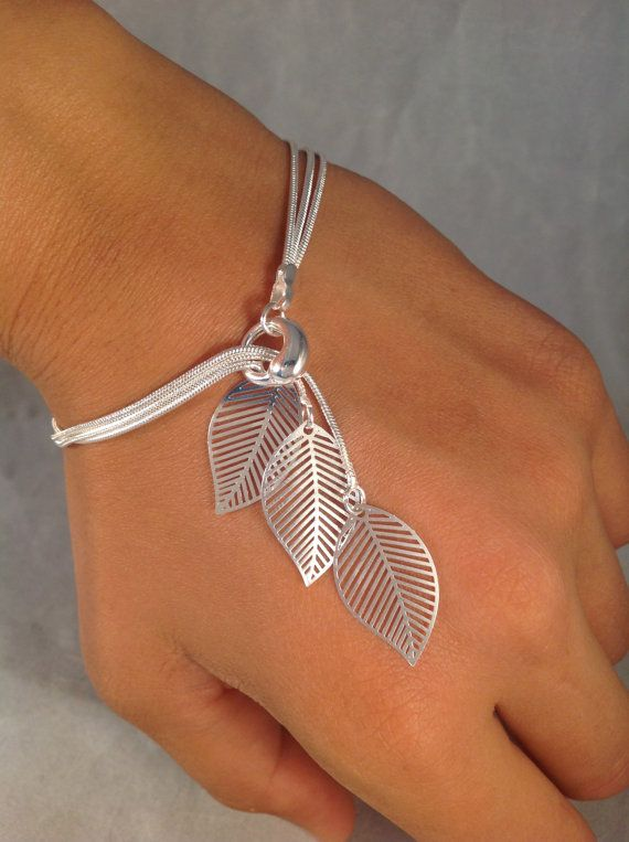 Sterling argent bracelet filigrane Simple feuilles par jochec