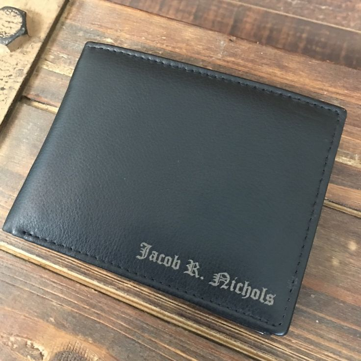 Custom engraved men's leather wallet, engrave with initials, names, nicknames and more.  Our wallets make great gifts for ring bearers, junior groomsmen, groomsman, best man or any other gentleman in your wedding party
