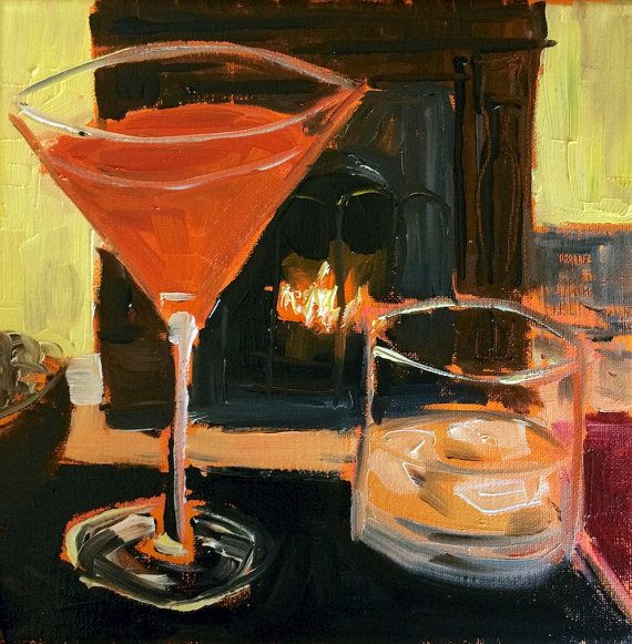 Christmas cocktails by the fire painting