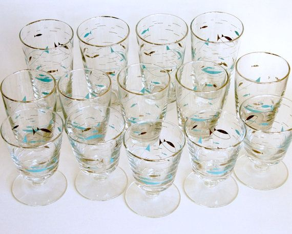 Libbey Fish Glasses Vintage Aqua Glassware by SentimentalFavorites