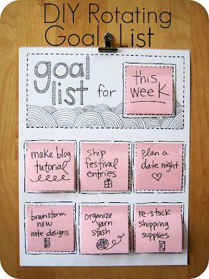 sticky notesGood Ideas, Organic, Cute Ideas, Goallist, Sticky Note, Goals Lists, Diy Rotator, Rotator Goals, Crafts