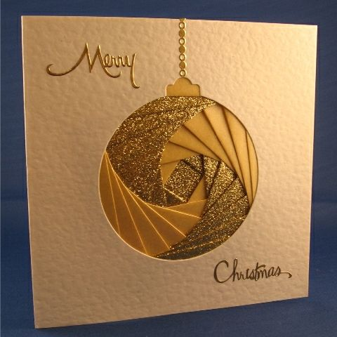 Iris Folding-handmade Christmas card ... gold and ivory ... Iris folding in circle forms gold bauble ... luv the precisely positioned layers ... simply elegant!!