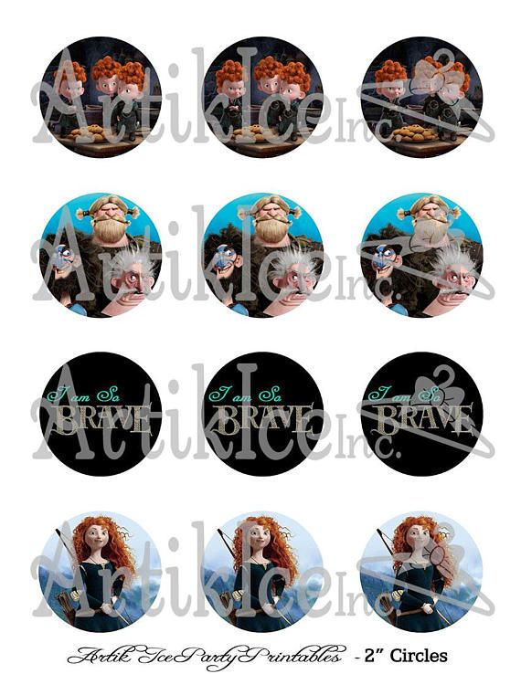 Brave Merida Princess Themed Birthday Party 2 Circles Cupcake Toppers, ALSO Includes BONUS gift tags for party favors, gift bags, INSTANT DOWNLOAD Merida Birthday Brave Celtic Disney Princess