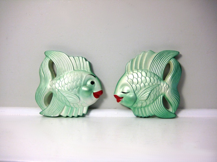 1960's bathroom kissing fish wall decor, my grandmother had these.