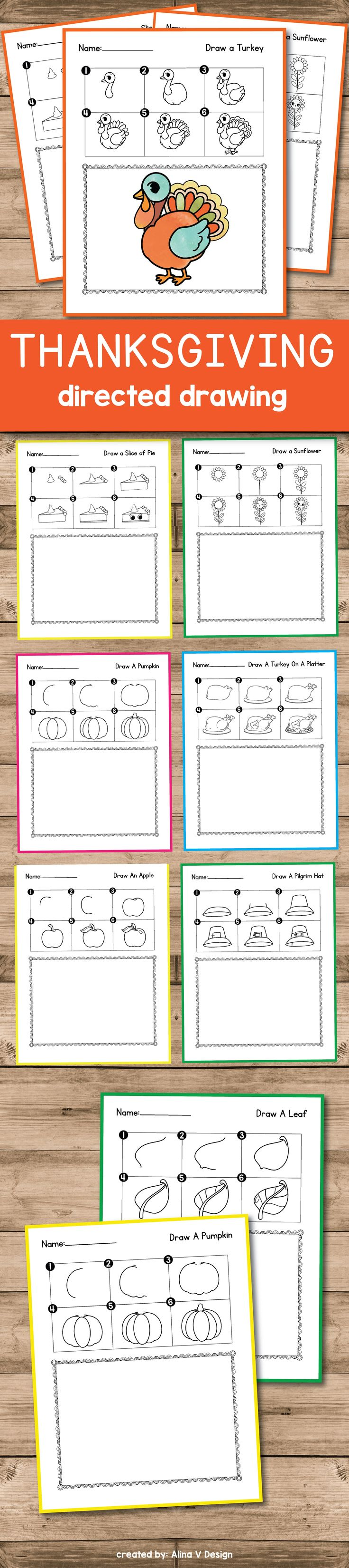 Thanksgiving directed drawing activities for preschool, kindergarten or first grade kids that you an use this October. Your students will learn in this small lessons how to draw a turkey, a pumpkin, a leaf and other cute fall and Halloween elements - the perfect morning work.