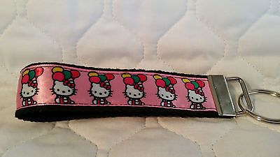 Handcrafted Hello Kitty on Pink Key Chain Wristlet NEW Free Shipping