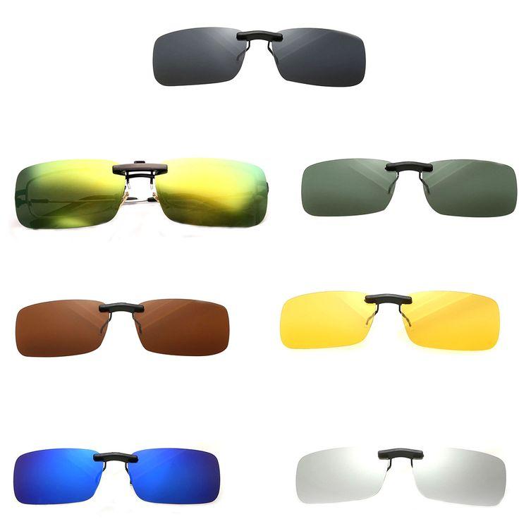 Attractive Design Unisex Polarized Clip On Sunglasses Driving Night Vision Lens Anti-Uv Sunglasses Clip