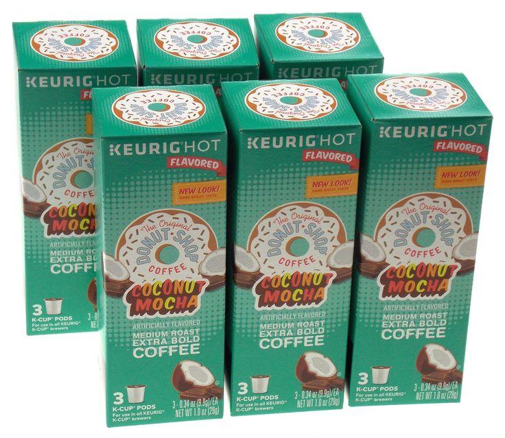 Coconut Mocha Keurig Hot Flavored Original Donut Shop Coffee 18 K Cups Set Bold