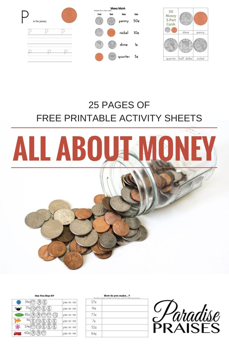 ALL ABOUT MONEY free printable pack at ParadisePraises.com