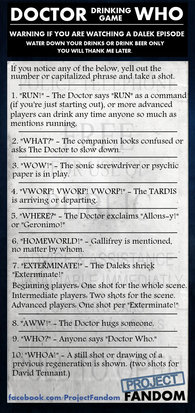 Doctor Who drinking game, courtesy of Project Fandom.