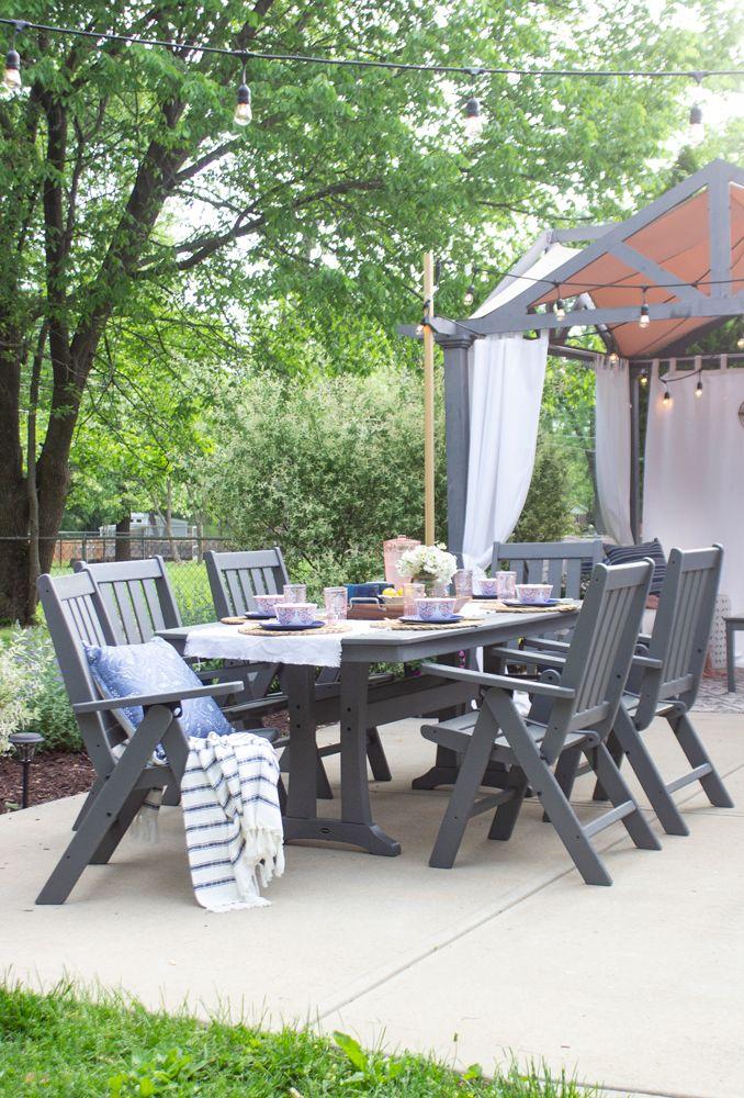 Patio Makeover Reveal Shades Of Blue Interiors Patio Makeover Outdoor Patio Table Patio Dining Set