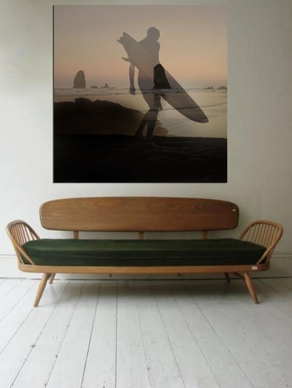 living room decor | home decor ideas | interior design | neutral colors living room | wall art | statement piece | apartment decorating | small space | surf photography