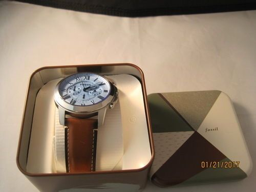 New-Fossil-Men-039-s-Grant-Chronograph-White-Dial-Brown-Leather-Watch-FS5060