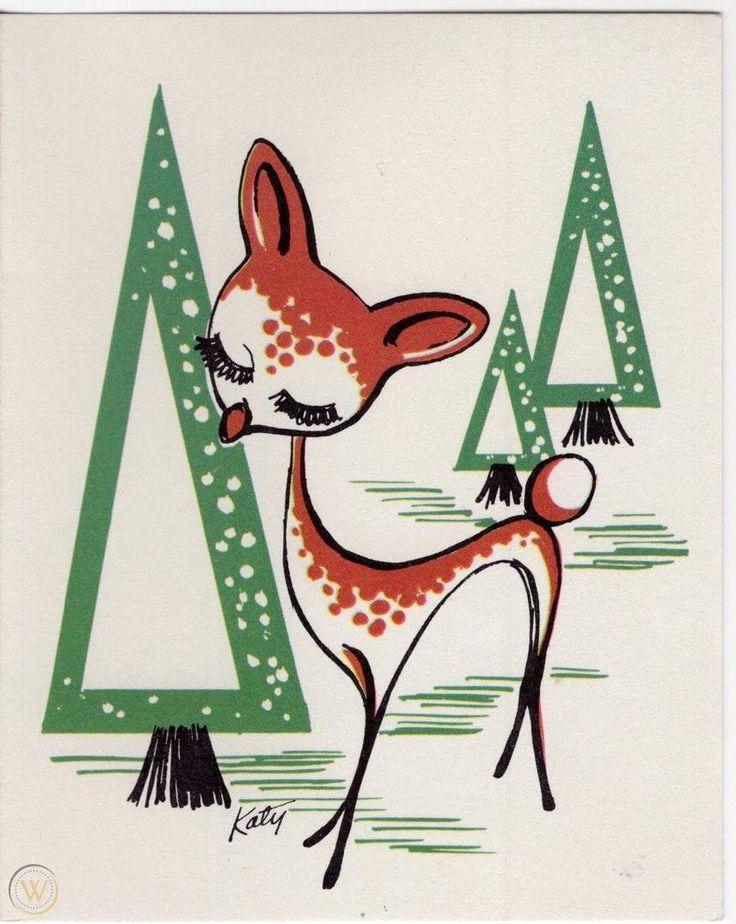 MCM Atomic Reindeer Deer Fawn Triangle Trees Katydid VTG