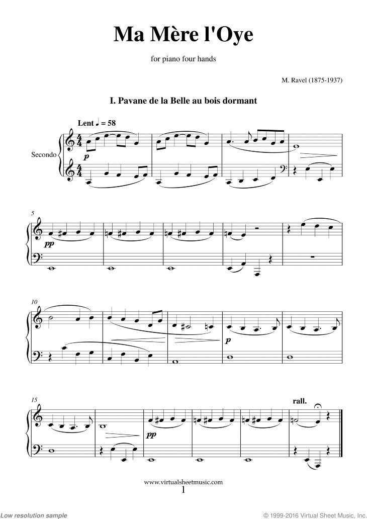 Ravel Ma Mere L Oye Sheet Music For Piano Four Hands Pdf Sheet Music Piano Sheet Music Virtual Sheet Music