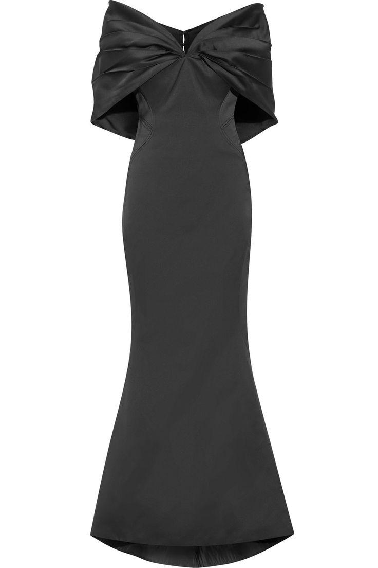 ZAC POSEN Off-The-Shoulder Duchesse-Satin Gown. #zacposen #cloth #gown