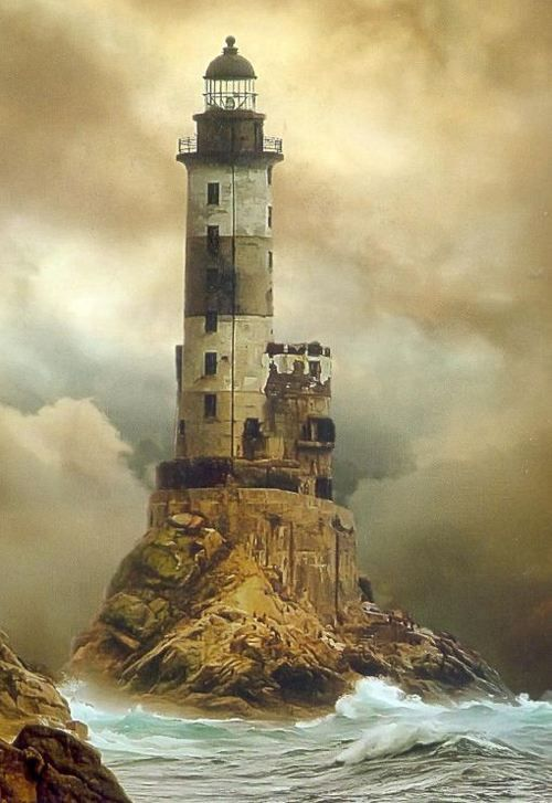 Aniva Lighthouse, Sakhalin Gys, Russia. Built under extremely difficult conditions on jagged rock just off the southeastern cape of Sakhalin island