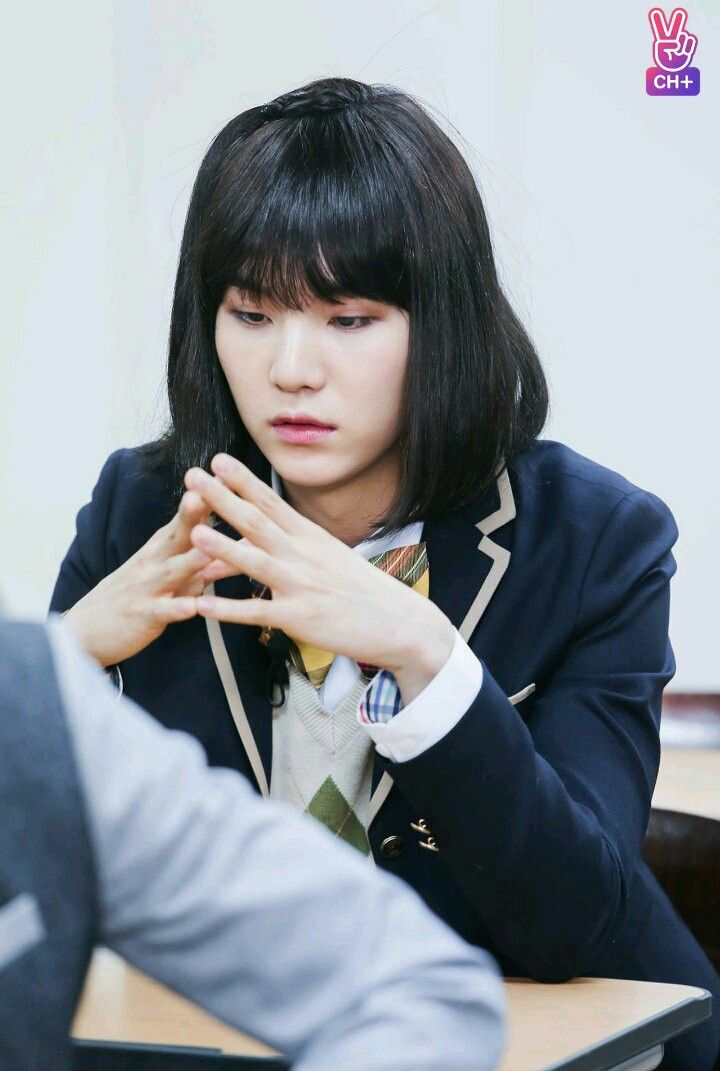 Suga might be dressed as a girl, but he still got swag
