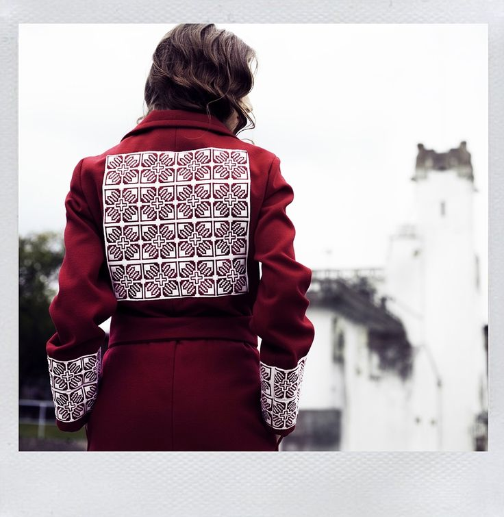 Vibrant red coat for confident, powerful women!   Román Gabriella's traditional coat design. https://www.facebook.com/RomanGabriella.Designer?fref=photo  Savescu Denis Photography Hairstyle & Make Up Deni Iovan