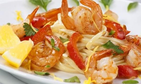 Lemon, white wine and chilies are a perfect complement to succulent shrimp served over perfect fresh pasta