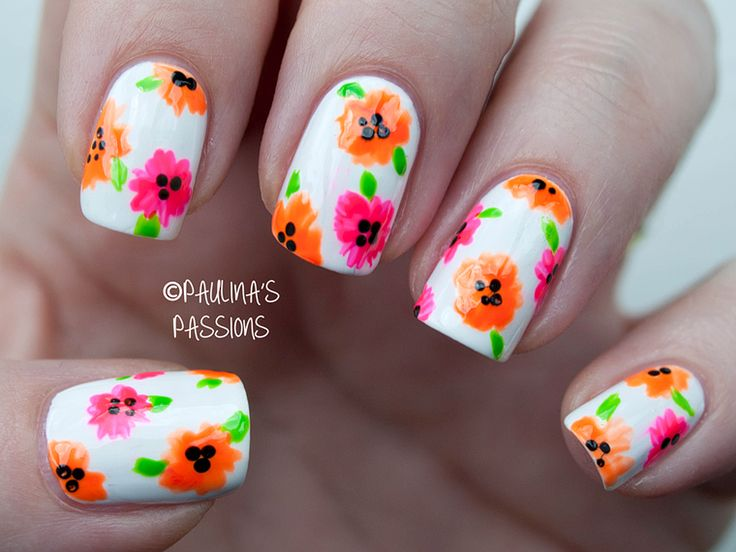 Flower design for nail polish : Best nail art hearts flowers images on