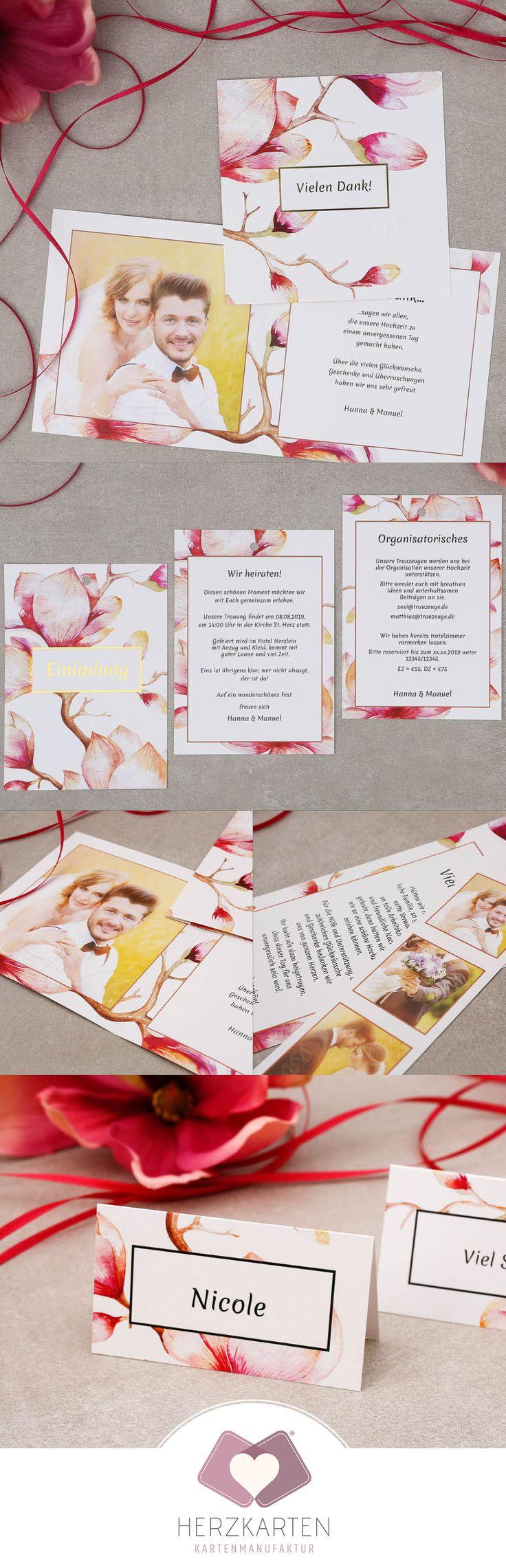 """Wunderschöne Magnolien sind hier die Namensgeber für die Kartenserie """"Cataleya"""".  In Verbindung mit Heißfolienprägung in Gold, Silber oder Rosé wirkt diese Danksagungskarte wundervoll harmonisch und elegant und ist somit ein Highlight für jede Hochzeit. #magnolie #hochzeit #papeterie #floral #heissfolienpraegung #praegung #einladung #danksagung #kirchenheft #savethedate #papeterie #hochzeit2018"""