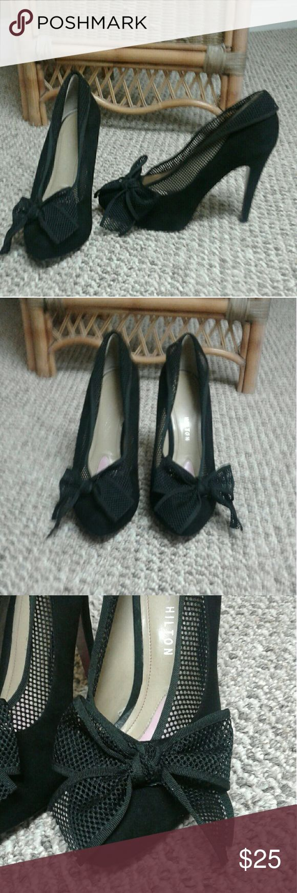 Paris Hilton Bow Heels Gently worn. Black suede heel with a mesh netted bow. Super sexy with a little black dress. There are some very teeny tiny marks on the heel and sole of the shoe. They are hardly noticeable but I tried my best to get pics so y'all knew what you were getting. Paris Hilton Shoes Heels