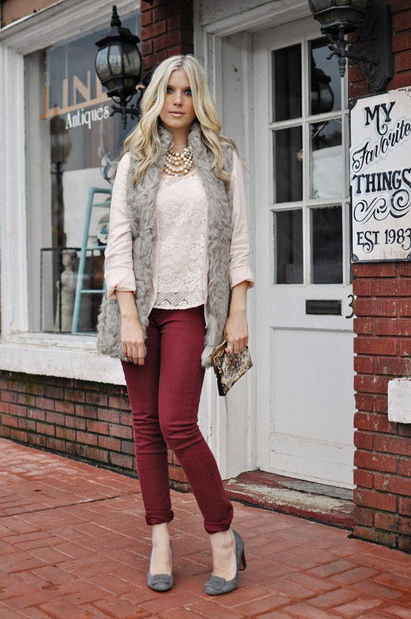 Fur Vest + Maroon/Burgundy Pants