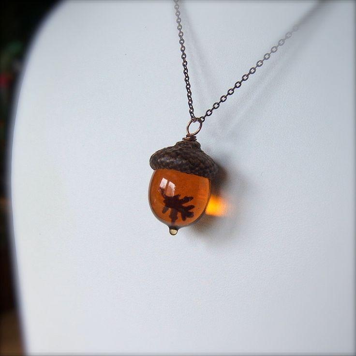 Glass Acorn Autumn Necklace - Topaz with Encased Copper Oak Leaf by Bullseyebeads. $24.00, via Etsy.