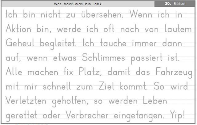 """Rätsel Nr. 20 aus dem großen Rätselbuch """"Wer oder was bin ich?"""" - hier in Druckschrift."""