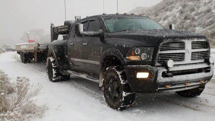 Black dodge in the snow!