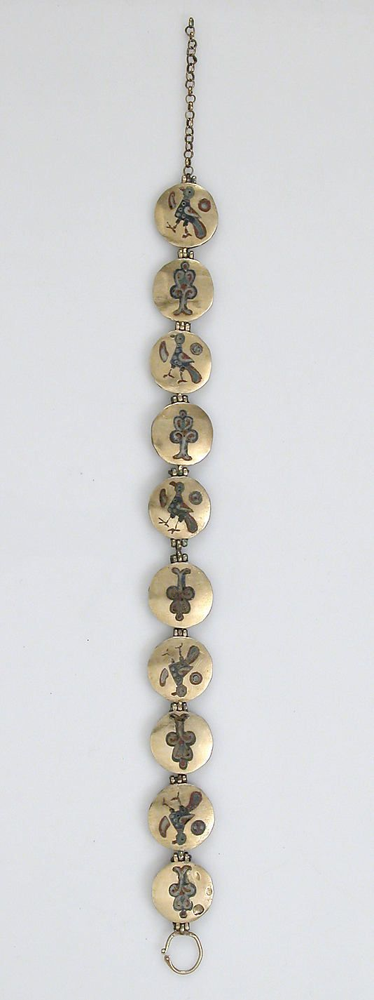Chain with Birds and Trees of Life Date: 1000–1200 Geography: Made in Kiev (probably) Culture: Kievan Rus' Medium: Cloisonné enamel, gold Dimensions: Overall: 12 7/16 x 13/16 x 1/8 in. (31.6 x 2.1 x 0.3 cm) Overall: 9 11/16 x 13/16 x 1/8 in. (24.6 x 2.1 x 0.3 cm)