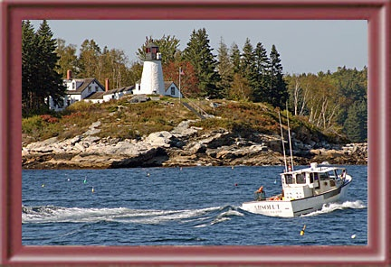 Burnt Island Light-Boothbay Harbor, Maine. Saw this one on a lobster tour twice, both times in the fog.