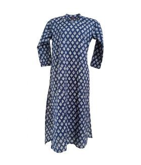 Cotton Printed Women's Kurta - (White, Navy)